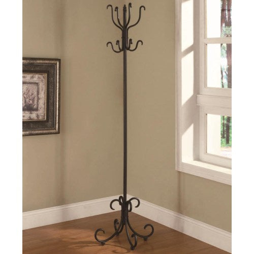 Accent Racks Black Metal Coat Rack with Curved Feet