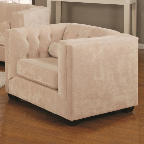 Alexis Transitional Upholstered Chesterfield Chair with High Track Arms