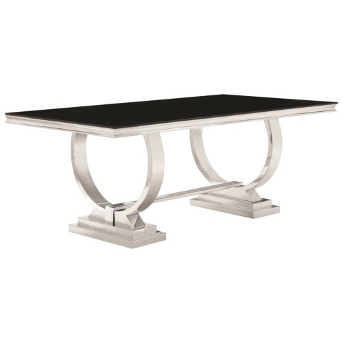 Antoine Stainless Steel Dining Table with Glass Top