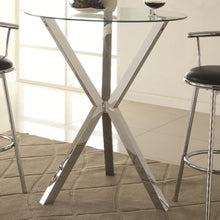 Load image into Gallery viewer, Bar Units and Bar Tables Round Pub Table with Glass Top and X-Shaped Chrome-Colored Base