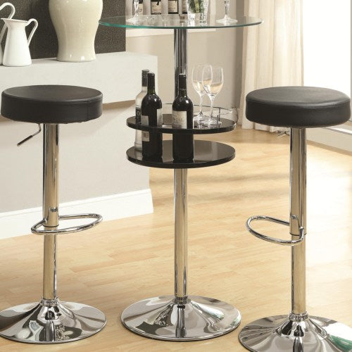 Bar Units and Bar Tables Black Bar Table with Tempered Glass Top and Storage