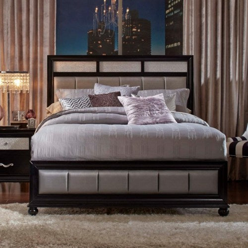 Barzini California King Bed with Metallic Leatherette Upholstery