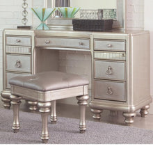 Load image into Gallery viewer, Bling Game Vanity Desk with 7 Drawers and Stacked Bun Feet