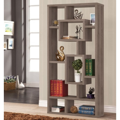 Bookcases Weathered Grey Geometric Cubed Rectangular Bookcase