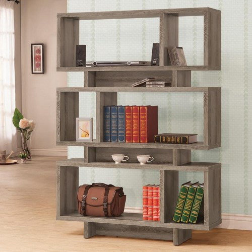 Bookcases Contemporary Weathered Grey Open Bookcase