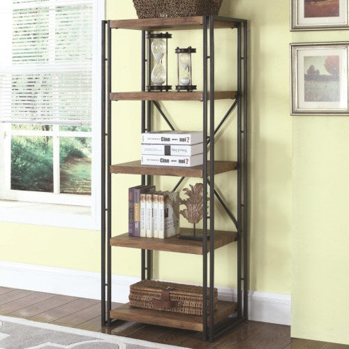 Bookcases Narrow Industrial Metal and Wood Bookcase