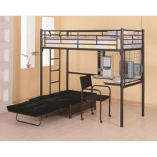 Load image into Gallery viewer, Twin Loft Bunk Bed with Futon 2209-COA