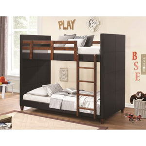 Bunks Twin-over-Twin Bunk Bed with Black Leatherette