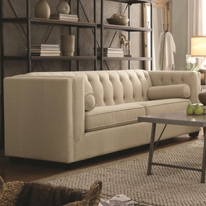 Cairns Stationary Sofa & Love with Tufted Back and Lumbar Pillows-COA