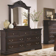 Load image into Gallery viewer, Cambridge 7 Drawer Dresser and Arched Mirror Set with Shell Carving