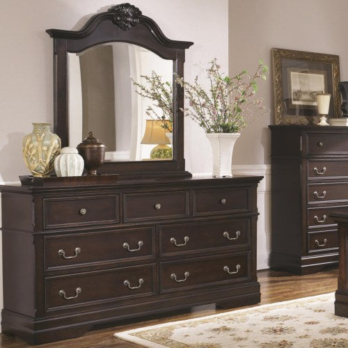 Cambridge 7 Drawer Dresser and Arched Mirror Set with Shell Carving