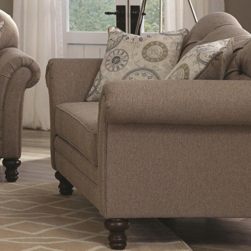 Carnahan Traditional Loveseat with Turned Legs and Rolled Arms