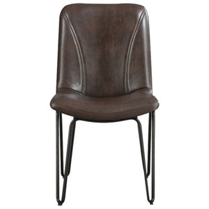 Chambler Dining Chair with Leatherette Seat and Hairpin Legs