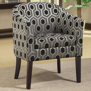 Charlotte Hexagon Patterned Accent Chair with Wood Legs 900435