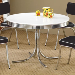 Cleveland Round Chrome Plated Dining Table-COA