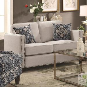 Coltrane by Coaster Transitional Loveseat with Nail Head Trim