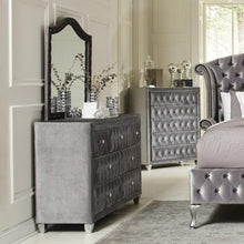 Load image into Gallery viewer, Deanna Upholstered Dresser and Mirror Set with Faceted Buttons