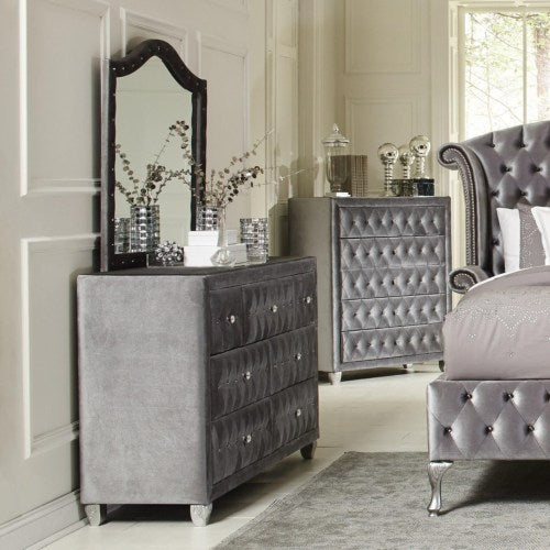 Deanna Upholstered Dresser and Mirror Set with Faceted Buttons