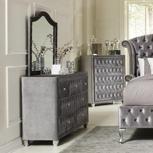 Deanna Upholstered Dresser Mirror with Arched Frame and Nailhead Trim