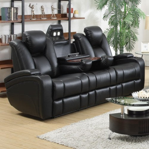 Delange Reclining Power Sofa with Adjustable Headrests & Storage in Armrests