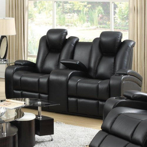 Delange Reclining Power Loveseat with Adjustable Headrests & Storage in Armrests