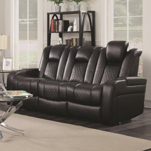Delangelo Casual Power Reclining Sofa with Cup Holders, Storage Console and USB Port