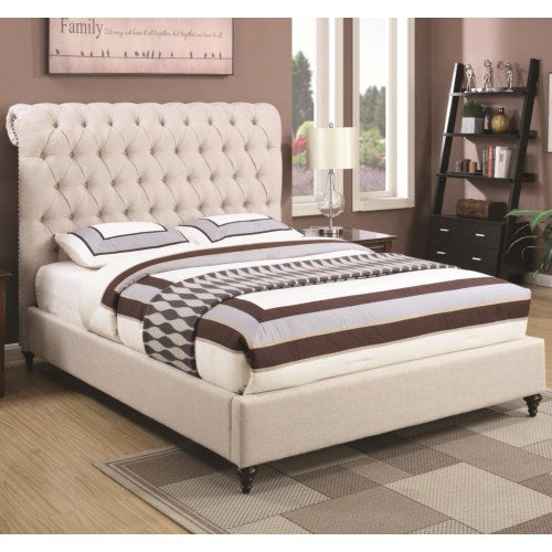 Devon Queen Upholstered Bed in Beige Fabric