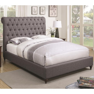 Devon Queen Upholstered Bed in Grey Fabric