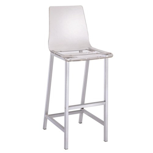 Dining Chairs and Bar Stools Acrylic Bar Height Stool with Chrome Base