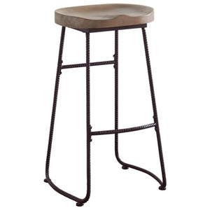 Dining Chairs and Bar Stools Rustic Bar Stool with Saddle Seat-COA