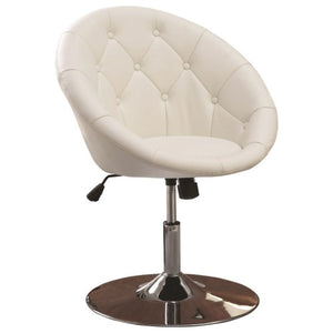 Bar Stools Round Tufted White Swivel 102583CST