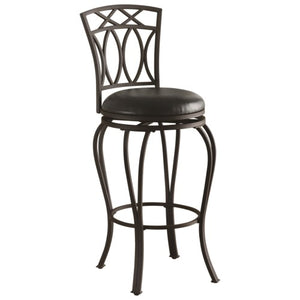 "Dining Chairs and Bar Stools 29"" Elegant Metal Barstool with Black Faux Leather Seat"