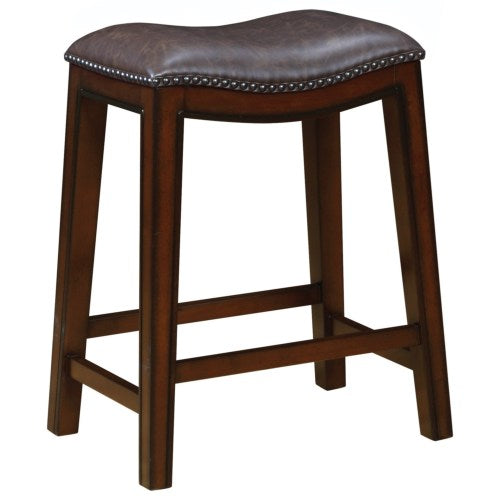 Dining Chairs and Bar Stools Backless Counter Height Stool with Nailhead Accents