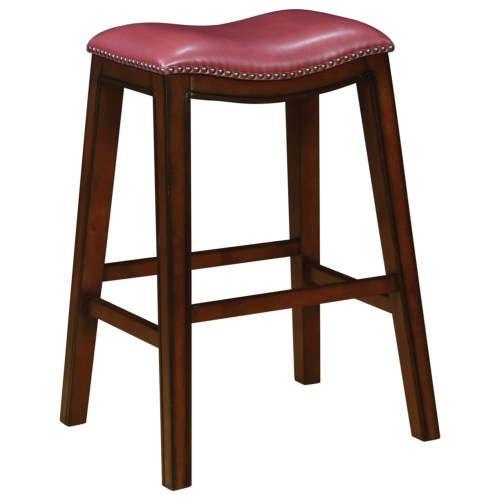 Dining Chairs and Bar Stools Upholstered Backless Bar Stool with Nailhead Trim