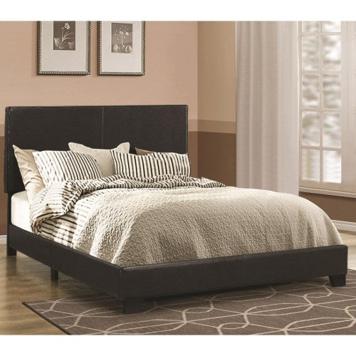 Dorian Black Upholstered Leatherette Full Bed