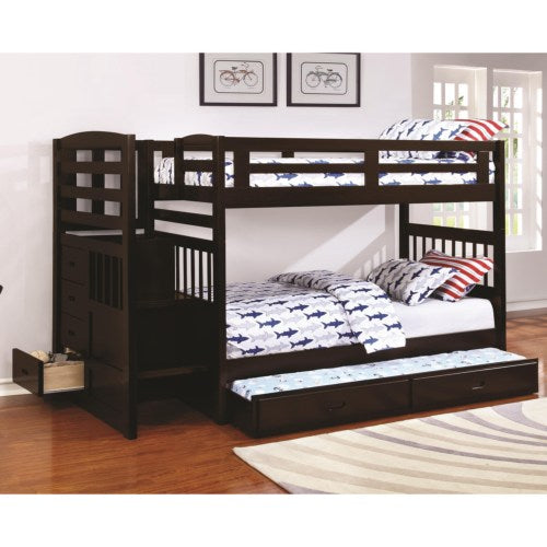 Dublin Twin over Twin Bunk Bed with Staircase and Trundle