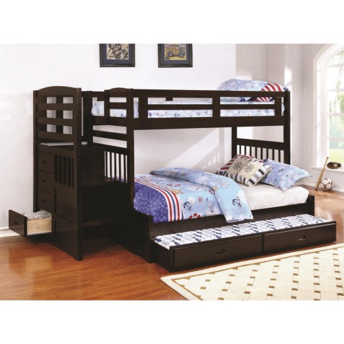 Dublin Twin over Full Stairway Bunk Bed with Trundle