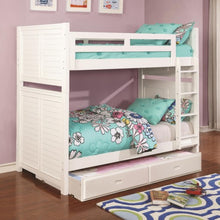 Load image into Gallery viewer, Edith Louvered White Twin over Twin Bunk Bed with Trundle