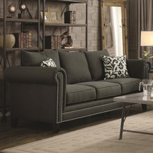 Load image into Gallery viewer, Emerson Transitional Rolled Arm Sofa with Pewter Nailheads