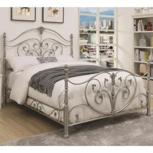 Evita California King Metal Bed with Elegant Scrollwork