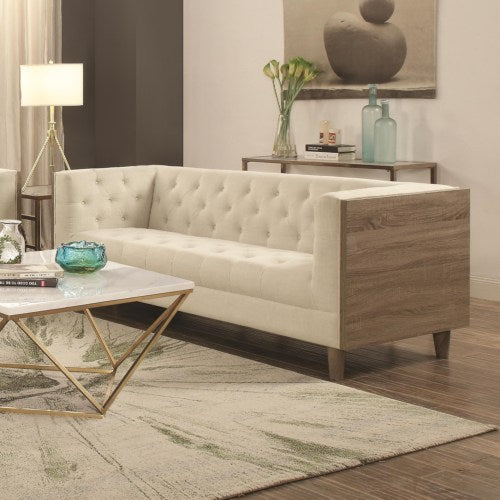 Fairbanks Tuxedo Sofa with Button Tufting and Weathered Wood