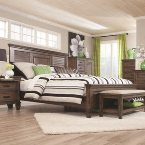 Franco California King Bed with Louvered Panel Headboard
