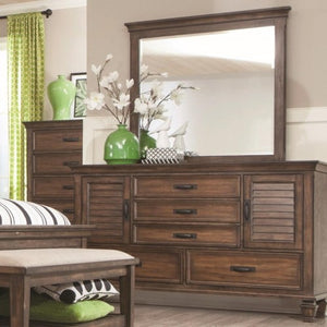 Franco 5 Drawer Dresser and Mirror Combo with Louvered Doors