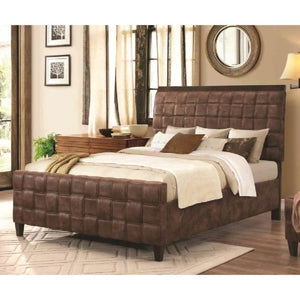 Gallagher Upholstered Full Bed with Basket Weave Design