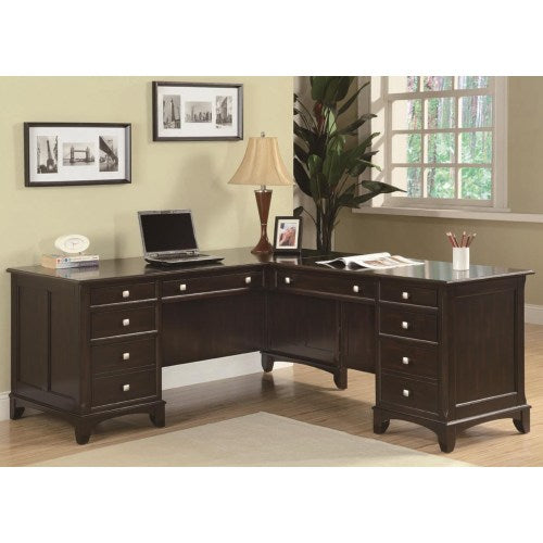 Garson L-Shaped Desk with 8 Drawers