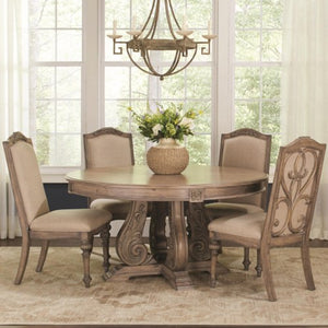 Ilana Traditional Round Dining Table with Detailed Pedestal