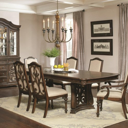 Ilana  Traditional Rectangular Dining Table with Two Pedestals