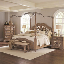 Load image into Gallery viewer, Ilana King Canopy Bed with Mirror Back Headboard