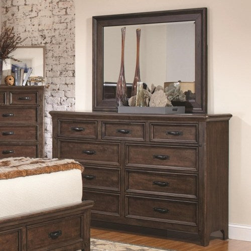 Ives 9 Drawer Dresser and Mirror Combo in Antique Mink Finish
