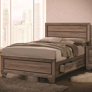 Kauffman King Bed with Panel Design and Storage Footboard